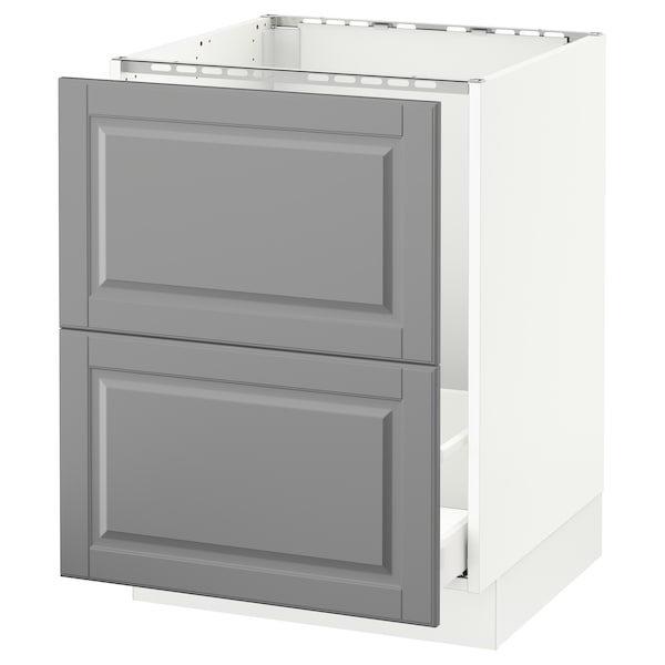 SEKTION Base cabinet f/sink & recycling, white Maximera/Bodbyn gray, 24x24x30 ""