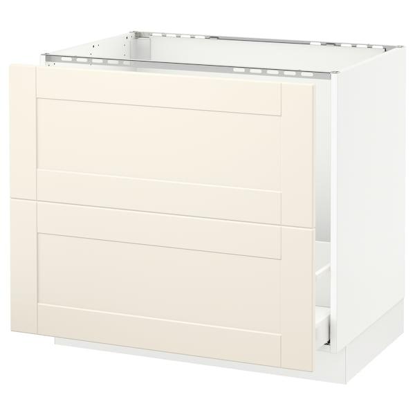 "SEKTION Base cabinet f/sink & recycling, white Maximera/Grimslöv off-white, 36x24x30 """
