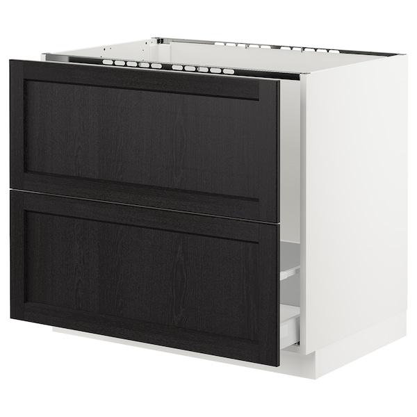 """SEKTION Base cabinet f/sink & recycling, white Maximera/Lerhyttan black stained, 36x24x30 """""""