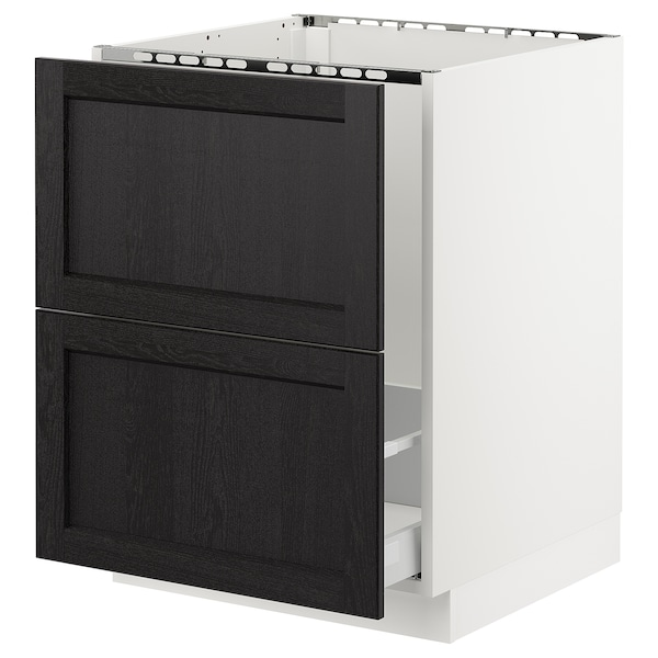 SEKTION Base cabinet f/sink & recycling, white Maximera/Lerhyttan black stained, 24x24x30 ""