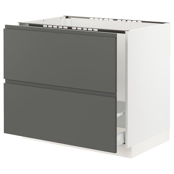 "SEKTION Base cabinet f/sink & recycling, white Maximera/Voxtorp dark gray, 36x24x30 """
