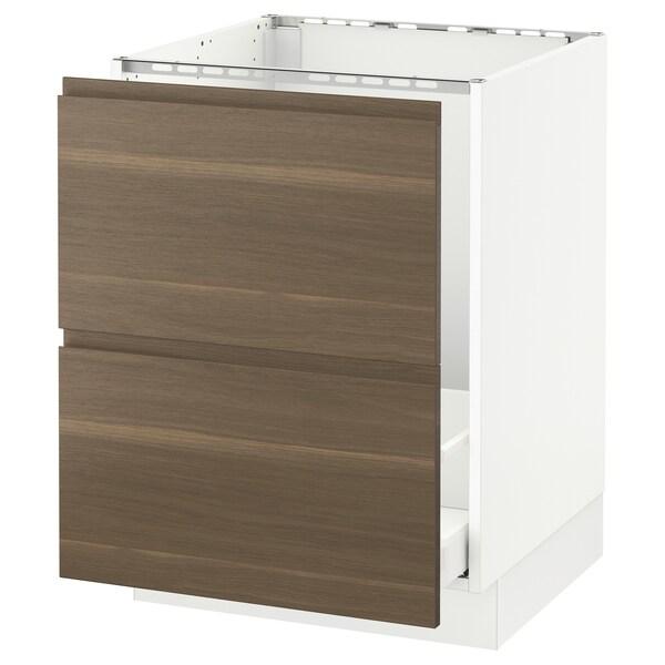 "SEKTION Base cabinet f/sink & recycling, white Maximera/Voxtorp walnut, 24x24x30 """