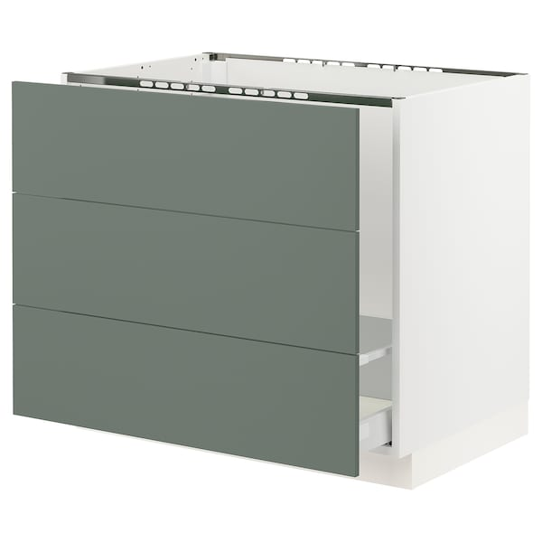 "SEKTION Base cabinet f/sink & waste sorting, white Maximera/Bodarp gray-green, 36x24x30 """