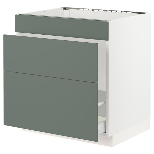 SEKTION Base cabinet f/sink & waste sorting, white Maximera/Bodarp gray-green, 30x24x30 ""
