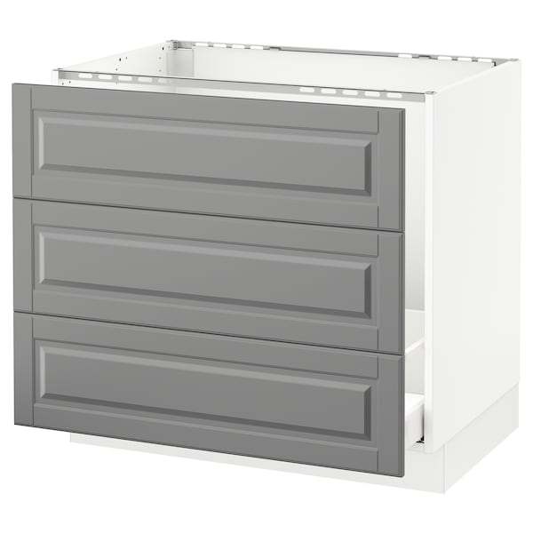 "SEKTION Base cabinet f/sink & waste sorting, white Maximera/Bodbyn gray, 36x24x30 """