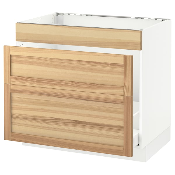 "SEKTION Base cabinet f/sink & waste sorting, white Maximera/Torhamn ash, 36x24x30 """