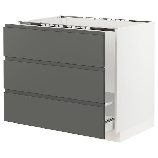 "SEKTION Base cabinet f/sink & waste sorting, white Maximera/Voxtorp dark gray, 36x24x30 """