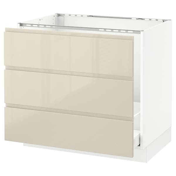 SEKTION Base cabinet f/sink & waste sorting, white Maximera/Voxtorp high-gloss light beige, 36x24x30 ""