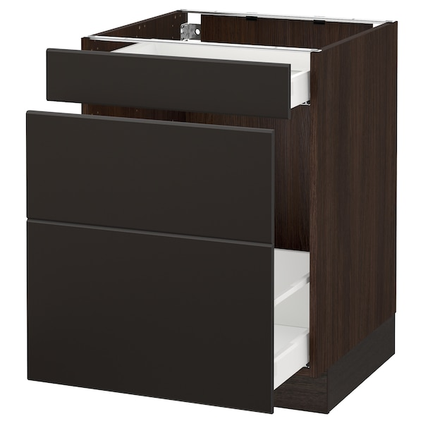 """SEKTION Base cabinet for recycling, brown Maximera/Kungsbacka anthracite, 24x24x30 """""""
