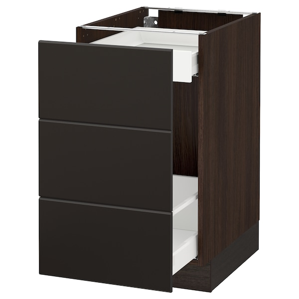 """SEKTION Base cabinet for recycling, brown Maximera/Kungsbacka anthracite, 18x24x30 """""""