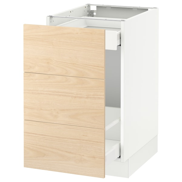 SEKTION Base cabinet for recycling, white Maximera/Askersund light ash effect, 18x24x30 ""