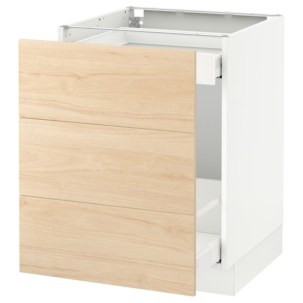 """SEKTION Base cabinet for recycling, white Maximera/Askersund light ash effect, 24x24x30 """""""
