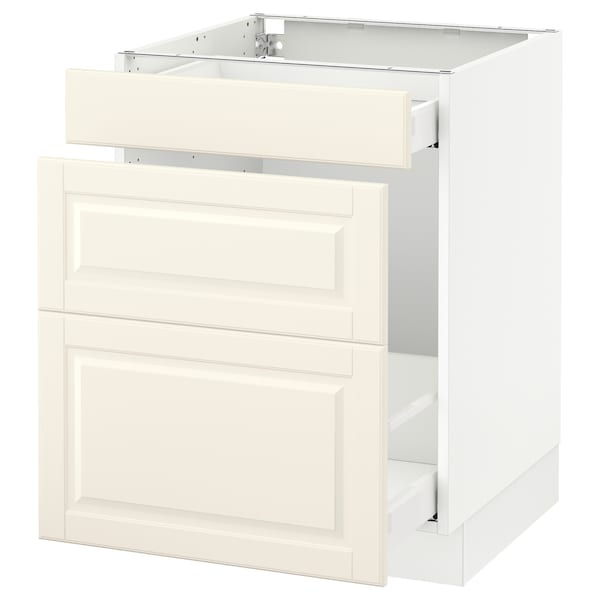 SEKTION Base cabinet for recycling, white Maximera/Bodbyn off-white, 24x24x30 ""