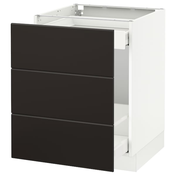 """SEKTION Base cabinet for recycling, white Maximera/Kungsbacka anthracite, 24x24x30 """""""