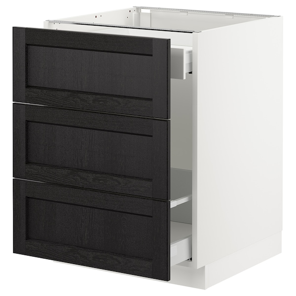 """SEKTION Base cabinet for recycling, white Maximera/Lerhyttan black stained, 24x24x30 """""""