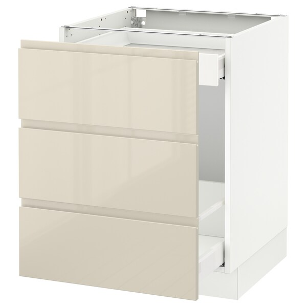 """SEKTION Base cabinet for recycling, white Maximera/Voxtorp high-gloss light beige, 24x24x30 """""""