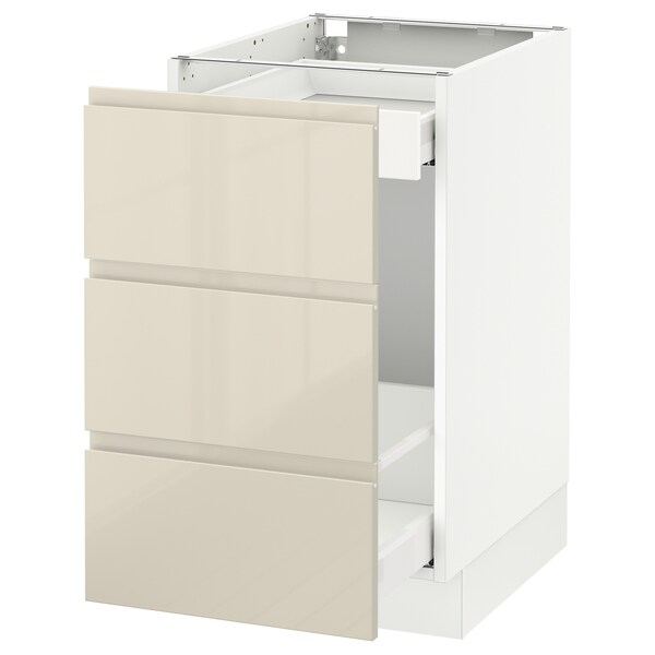 """SEKTION Base cabinet for recycling, white Maximera/Voxtorp high-gloss light beige, 18x24x30 """""""