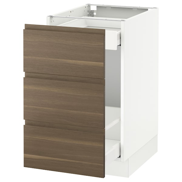 SEKTION Base cabinet for recycling, white Maximera/Voxtorp walnut, 18x24x30 ""