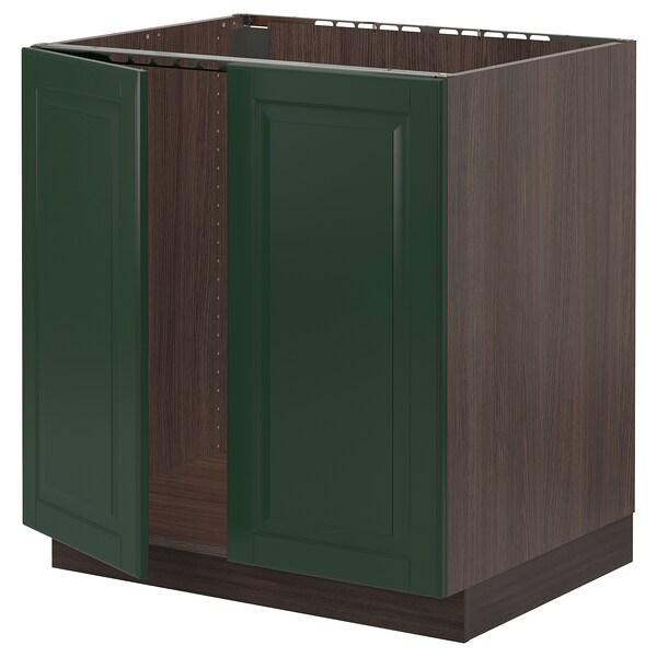 "SEKTION Base cabinet for sink + 2 doors, brown/Bodbyn dark green, 30x24x30 """