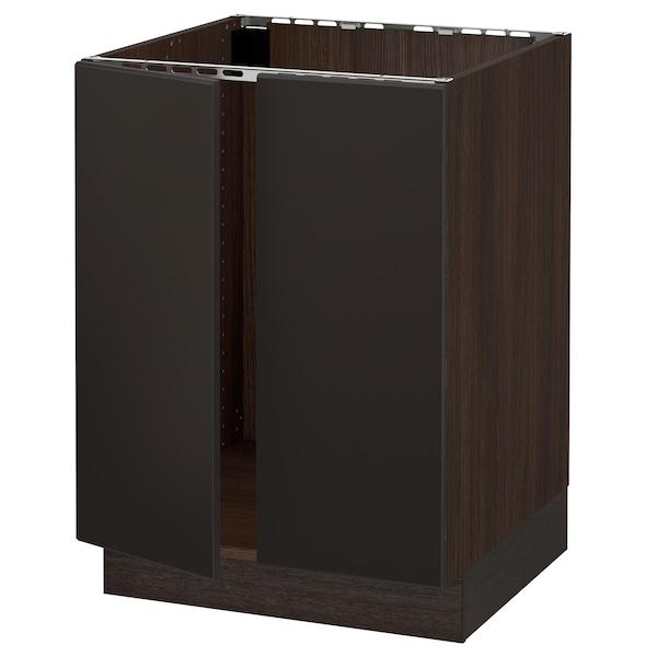 "SEKTION Base cabinet for sink + 2 doors, brown/Kungsbacka anthracite, 24x24x30 """