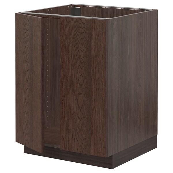 "SEKTION Base cabinet for sink + 2 doors, brown/Sinarp brown, 24x24x30 """