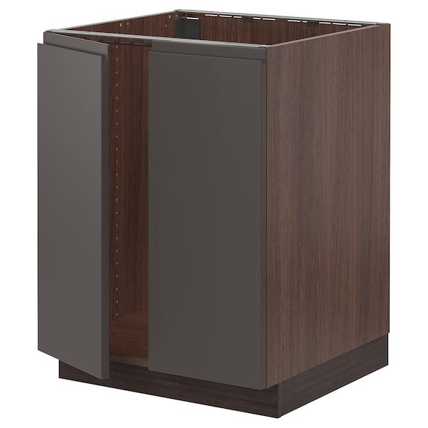 "SEKTION Base cabinet for sink + 2 doors, brown/Voxtorp dark gray, 24x24x30 """