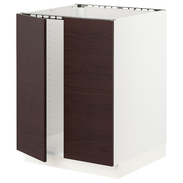 SEKTION Base cabinet for sink + 2 doors, white Askersund/dark brown ash effect, 24x24x30 ""