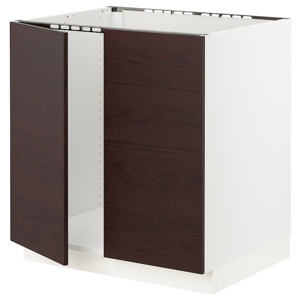 "SEKTION Base cabinet for sink + 2 doors, white Askersund/dark brown ash effect, 30x24x30 """