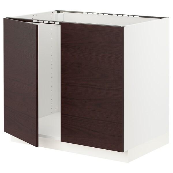 "SEKTION Base cabinet for sink + 2 doors, white Askersund/dark brown ash effect, 36x24x30 """