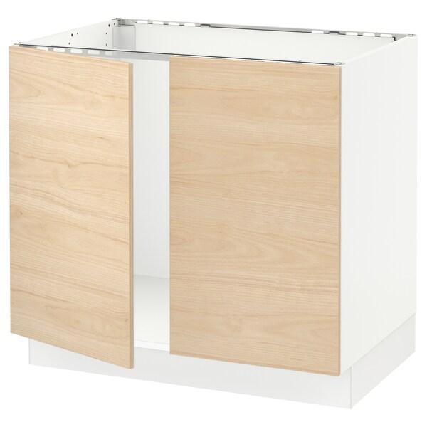 """SEKTION Base cabinet for sink + 2 doors, white/Askersund light ash effect, 36x24x30 """""""