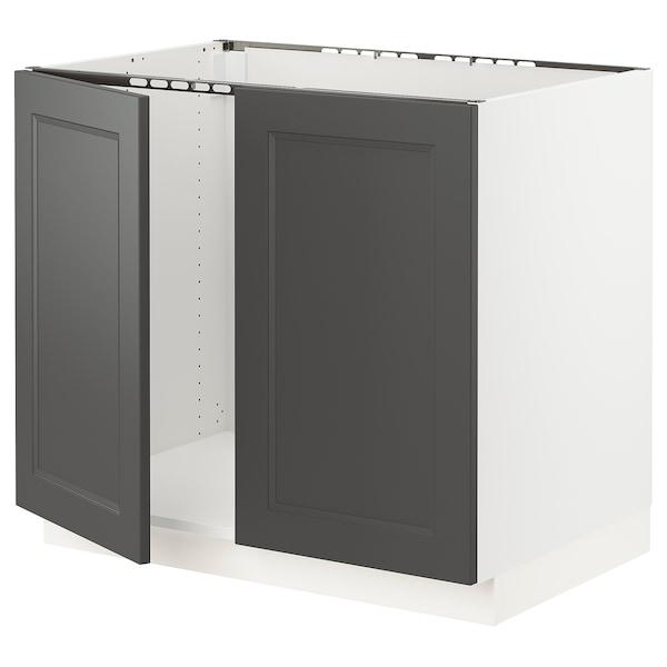 "SEKTION Base cabinet for sink + 2 doors, white/Axstad dark gray, 36x24x30 """