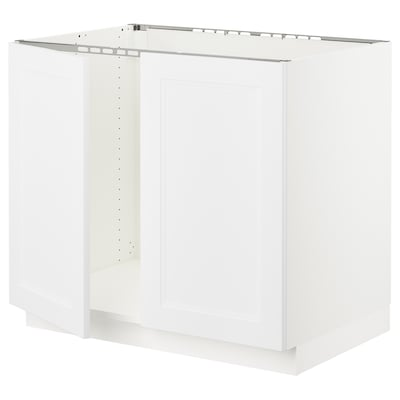 """SEKTION Base cabinet for sink + 2 doors, white/Axstad matt white, 36x24x30 """""""