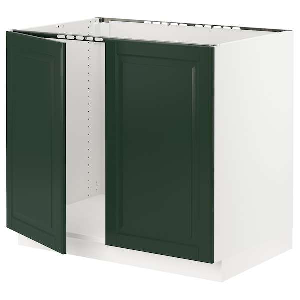 SEKTION Base cabinet for sink + 2 doors, white/Bodbyn dark green, 36x24x30 ""
