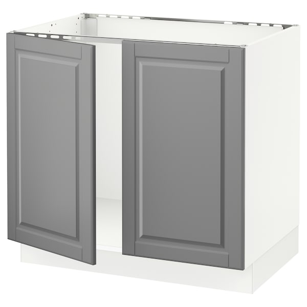 """SEKTION Base cabinet for sink + 2 doors, white/Bodbyn gray, 36x24x30 """""""