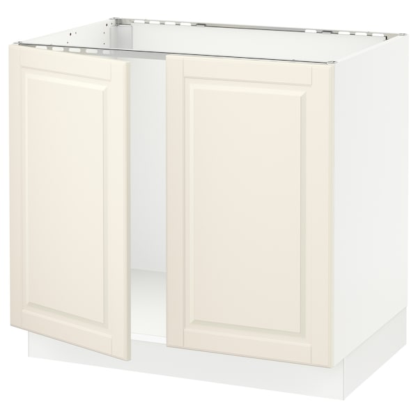 """SEKTION Base cabinet for sink + 2 doors, white/Bodbyn off-white, 36x24x30 """""""