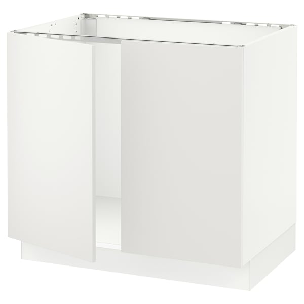 """SEKTION Base cabinet for sink + 2 doors, white/Häggeby white, 36x24x30 """""""