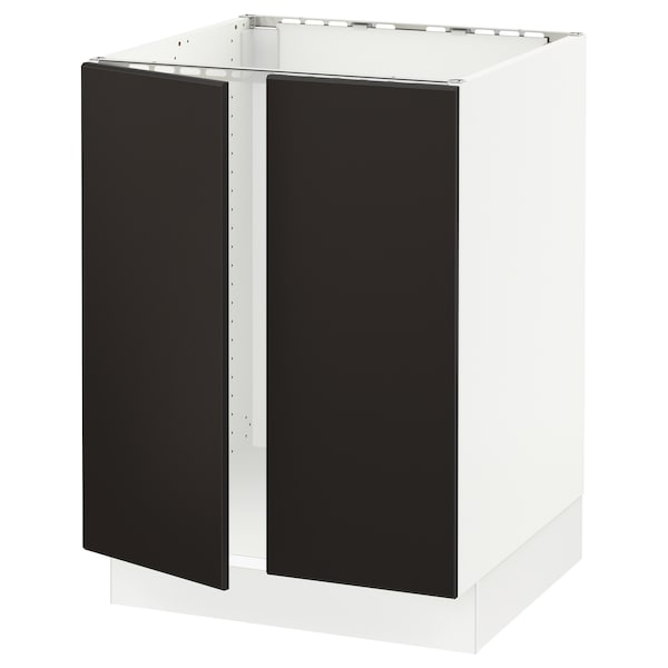 """SEKTION Base cabinet for sink + 2 doors, white/Kungsbacka anthracite, 24x24x30 """""""