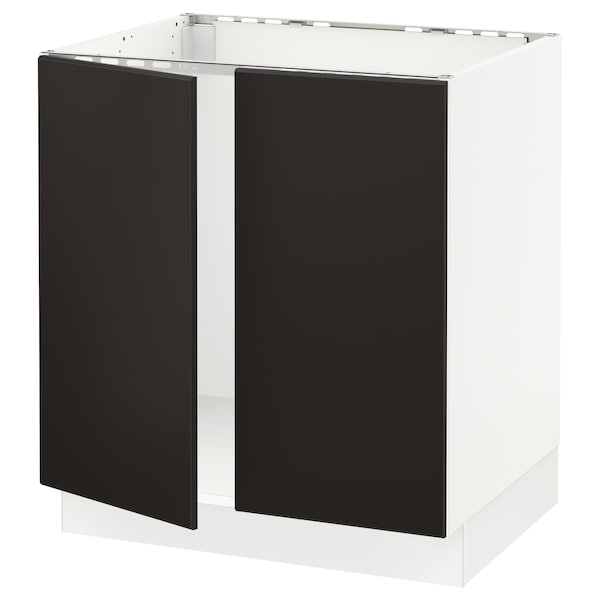 """SEKTION Base cabinet for sink + 2 doors, white/Kungsbacka anthracite, 30x24x30 """""""