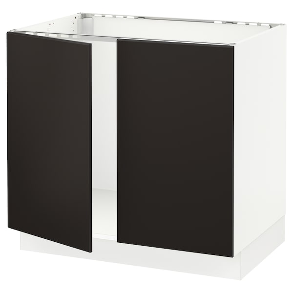 """SEKTION Base cabinet for sink + 2 doors, white/Kungsbacka anthracite, 36x24x30 """""""