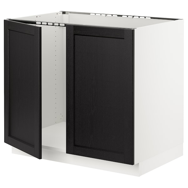 """SEKTION Base cabinet for sink + 2 doors, white/Lerhyttan black stained, 36x24x30 """""""