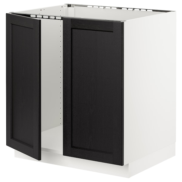 SEKTION Base cabinet for sink + 2 doors, white/Lerhyttan black stained, 30x24x30 ""