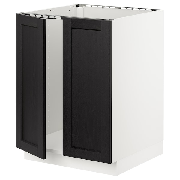 """SEKTION Base cabinet for sink + 2 doors, white/Lerhyttan black stained, 24x24x30 """""""