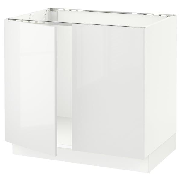 "SEKTION Base cabinet for sink + 2 doors, white/Ringhult white, 36x24x30 """