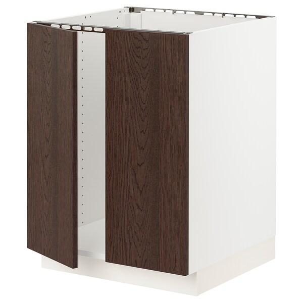 "SEKTION Base cabinet for sink + 2 doors, white/Sinarp brown, 24x24x30 """