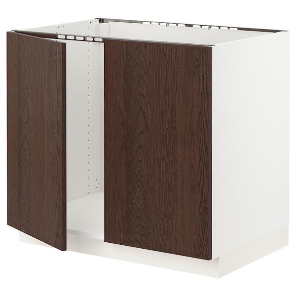 "SEKTION Base cabinet for sink + 2 doors, white/Sinarp brown, 36x24x30 """