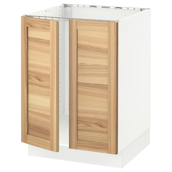 SEKTION Base cabinet for sink + 2 doors, white/Torhamn ash, 24x24x30 ""