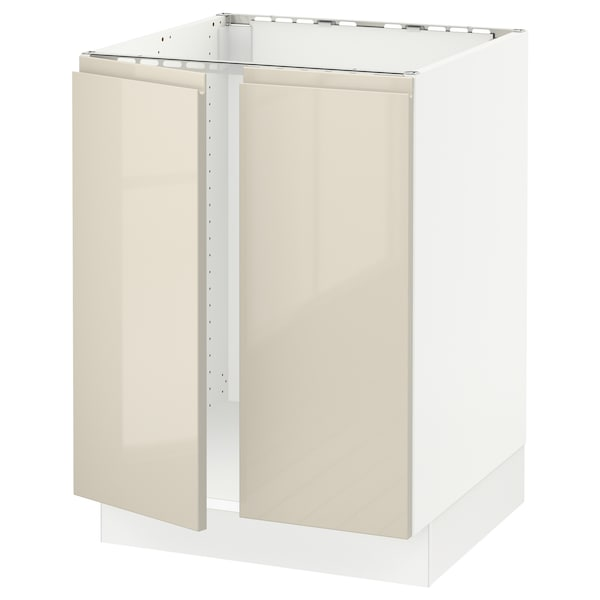 SEKTION Base cabinet for sink + 2 doors, white/Voxtorp high-gloss light beige, 24x24x30 ""