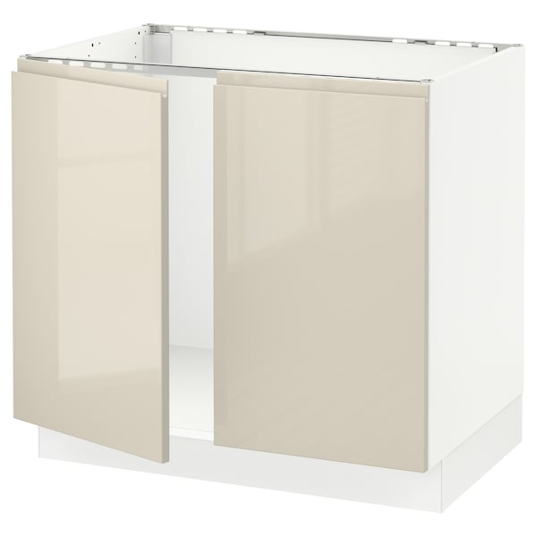 SEKTION Base cabinet for sink + 2 doors, white/Voxtorp high-gloss light beige, 36x24x30 ""