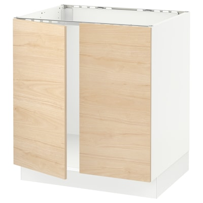"SEKTION base cabinet for sink + 2 doors white/Askersund light ash effect 30 "" 24 "" 24 3/4 "" 30 """