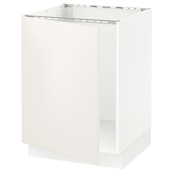 SEKTION Base cabinet for sink, white/Veddinge white, 24x24x30 ""
